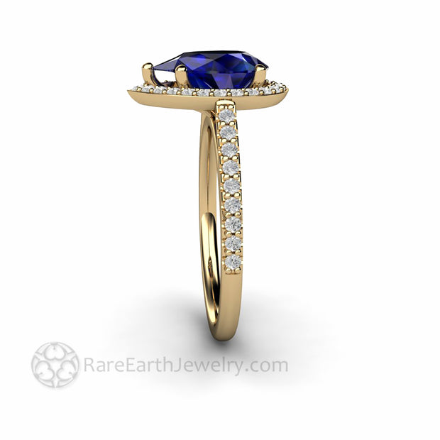 Dainty Pave Diamond Halo Engagement Ring on Feminine Band with Pear Shaped Blue Sapphire