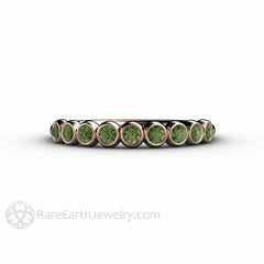 Round Cut Dark Green Diamond Ring Bezel Set in Rose Gold Stackable Band Rare Earth Jewelry