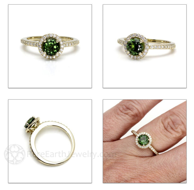 Rare Earth Jewelry Dark Green Tourmaline Ring 14K or 18K Gold Halo Setting