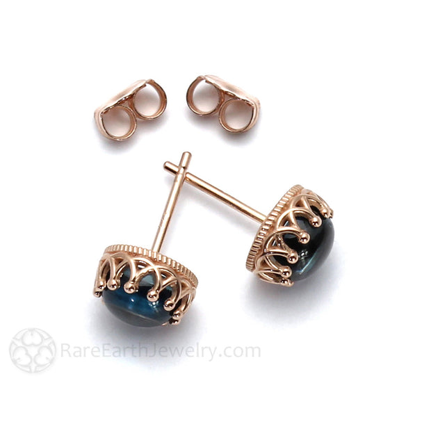 Rose Gold Crown Style Stud Earrings Topaz Rare Earth Jewelry