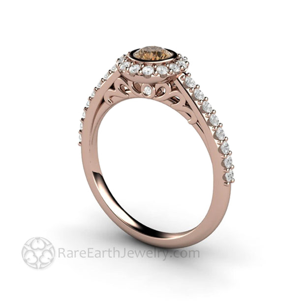 Rose Gold Cognac Diamond Ring Bezel Setting