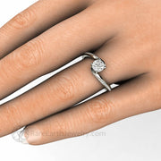 Diamond Alternative Bypass Solitaire Setting Hand Shot by Rare Earth Jewelry