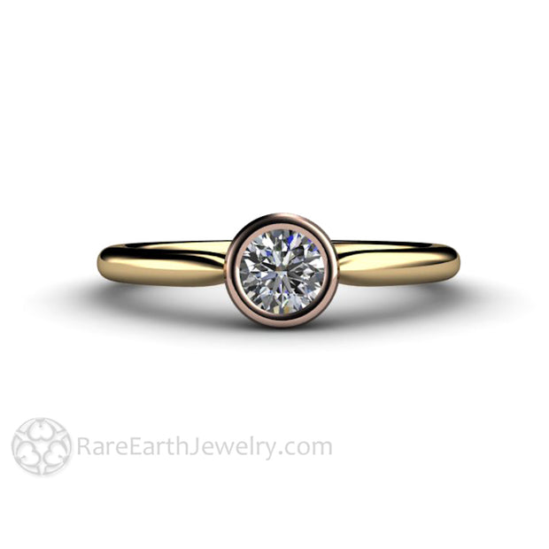 Diamond Solitaire Bridal Ring GIA Certified Handmade Two-Tone Gold Bezel Setting Rare Earth Jewelry