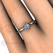 Diamond Wedding Ring Round Cut GIA Certified on Finger Two-Tone Gold Rare Earth Jewelry