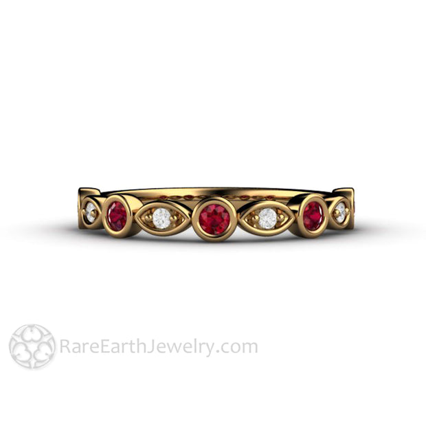 Diamond and Ruby Wedding Band Round Cut 18K Yellow Gold Bezel Setting Rare Earth Jewelry