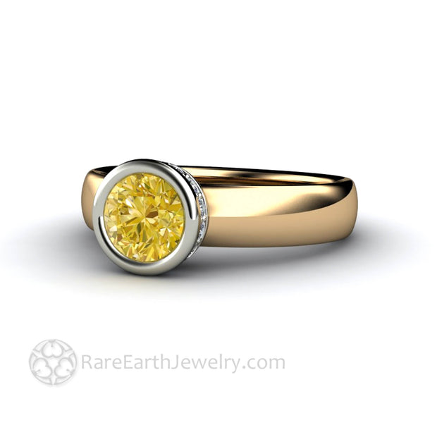 Round Cut Yellow Sapphire Engagement Ring - Rare Earth Jewelry