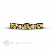 Diamond and Yellow Sapphire Wedding Ring 14K Yellow Gold Diamond Accents - Rare Earth Jewelry