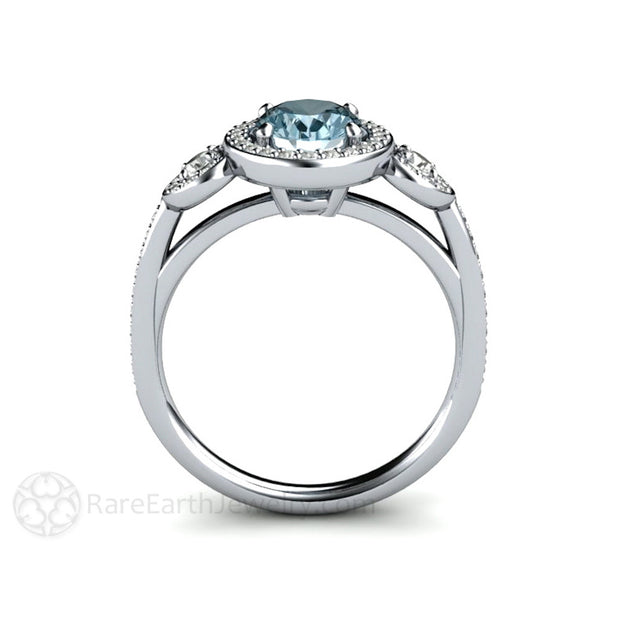 Three Stone Aquamarine Diamond Halo Ring Rare Earth Jewelry