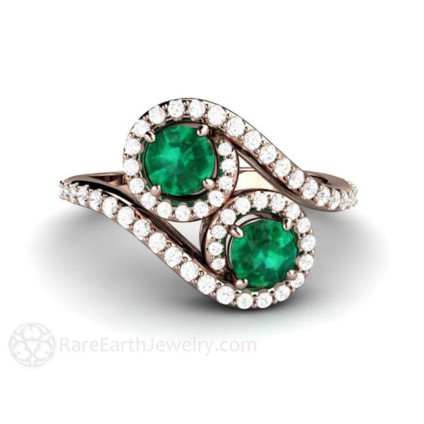 14K Rose Gold Emerald Halo Ring Two Stone with Diamonds