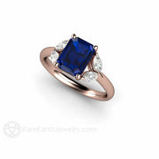 5 Stone Blue Sapphire Ring Emerald Cut Marquise Cut Rare Earth Jewelry