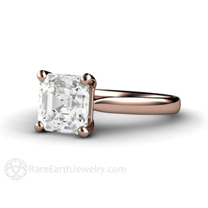 Rare Earth Jewelry Asscher White Sapphire Solitaire Wedding Ring 14K Rose Gold