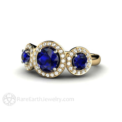 Round Cut Blue Sapphire Diamond Halo Ring Wedding Anniversary Rare Earth Jewelry