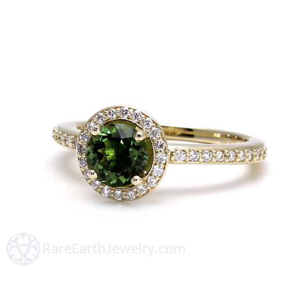 Round Cut Natural Green Tourmaline Ring with Diamond Accent Stones 14K Gold Rare Earth Jewelry