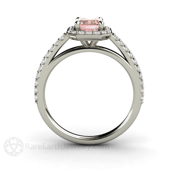 14K Pink Emerald Cut Diamond Halo Right Hand Ring Rare Earth Jewelry