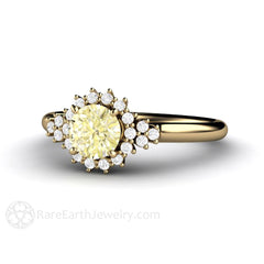 Rare Earth Jewelry Lemon Yellow Sapphire Diamond Halo Ring 14K