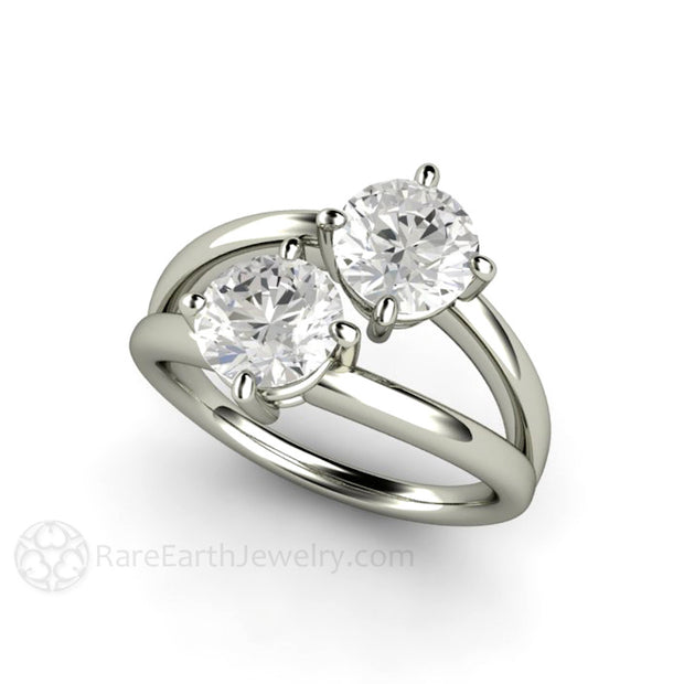 Rare Earth Jewelry Moissanite April Birthstone Diamond Alternative Ring 2 Stone 14K White Gold Setting
