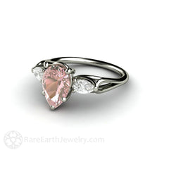 Pear Shape Pink and White 3 Stone Moissanite Ring Rare Earth Jewelry