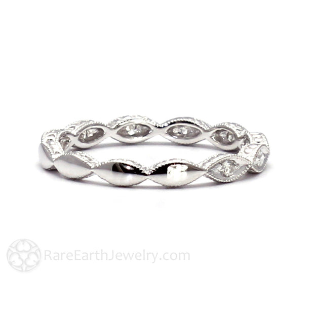 Diamond Scalloped Band 14K White Gold