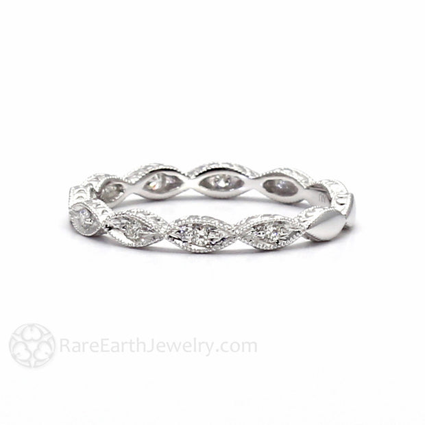 Diamond April Birthstone Band Stacking Ring Rare Earth Jewelry