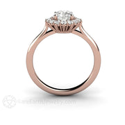 Rose Gold Diamond Halo Bridal Ring GIA 6mm Round Rare Earth Jewelry