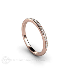 18K Rose Gold Diamond Bridal Ring Stackable Band Rare Earth Jewelry