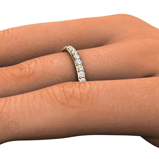 Rare Earth Jewelry Diamond Anniversary Stacking Ring on Finger
