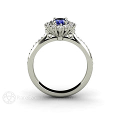 Oval Cluster Blue Sapphire Ring 14K White Gold Rare Earth Jewelry