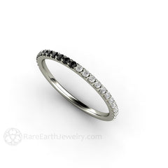 Platinum Black White Diamond April Birthstone Ring or Anniversary Rare Earth Jewelry