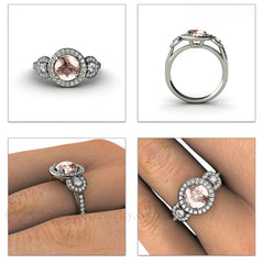 Morganite Engagement Ring 3 Stone Diamond Halo