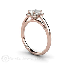 Rare Earth Jewelry Emerald Cut White Sapphire Engagement Ring Diamond Halo 14K or 18K Rose Gold