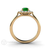 Pear Green Garnet Diamond Halo Right Hand Ring Rare Earth Jewelry