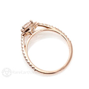 Halo Morganite Engagement Ring Rose Gold Diamond Halo Setting Rare Earth Jewelry