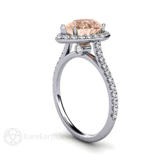 Pear Morganite Ring Diamond Accent Stones 14K White Gold Rare Earth Jewelry