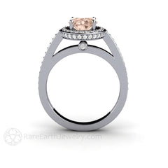 Rare Earth Jewelry Oval Cut Morganite Ring with Diamond Accent Stones 14K White Gold