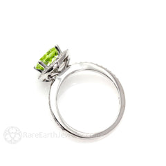 Peridot Ring with Diamond Halo August Birthstone Rare Earth Jewelry