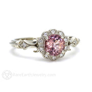 Rare Earth Jewelry Pink Spinel Ring with Diamonds Antique Deco Design Milgrain Detail