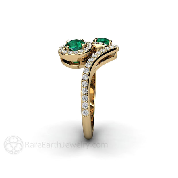 2 Stone Round Cut Green Emerald Two Halo Ring 14K Gold