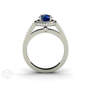 Rare Earth Jewelry Diamond Halo Blue Sapphire Wedding Ring 14K Gold