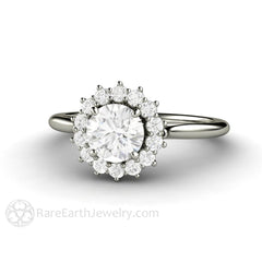 14K White Gold Round Diamond Engagement Ring with Cluster Diamond Halo Rare Earth Jewelry