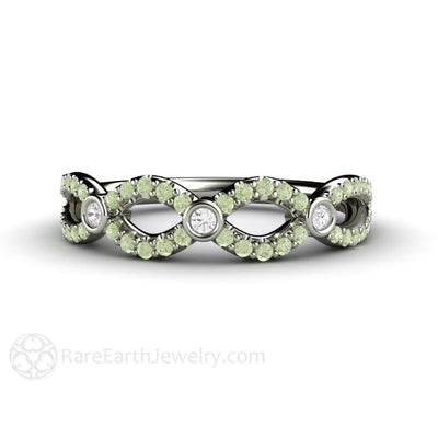 Rare Earth Jewelry Green Diamond Infinity Ring