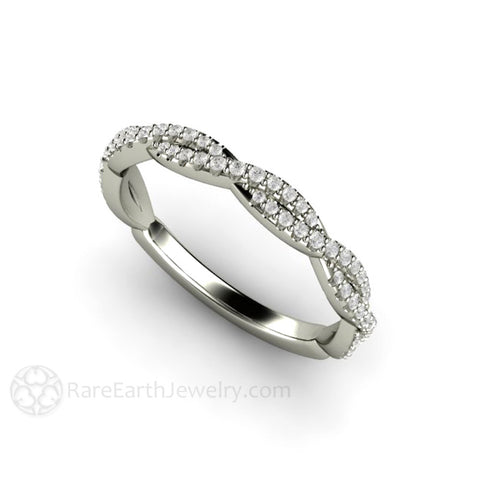 Pave Diamond Infinity Wedding Ring or Anniversary Band