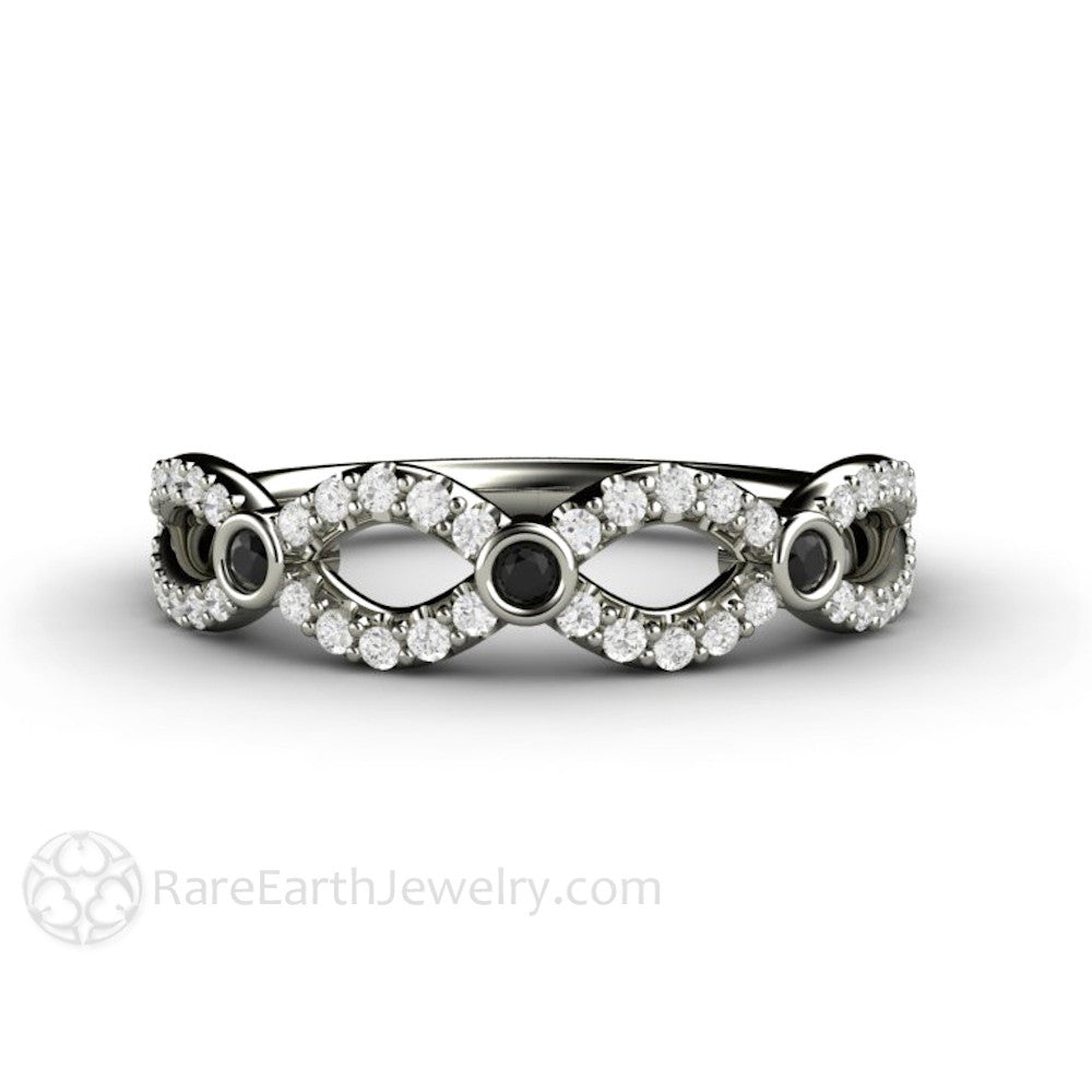 Rare Earth Jewelry Black and White Diamond Infinity Ring 14K White Gold Round Cut Diamonds