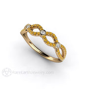Rare Earth Jewelry Yellow Diamond Ring Infinity Style 14K Gold
