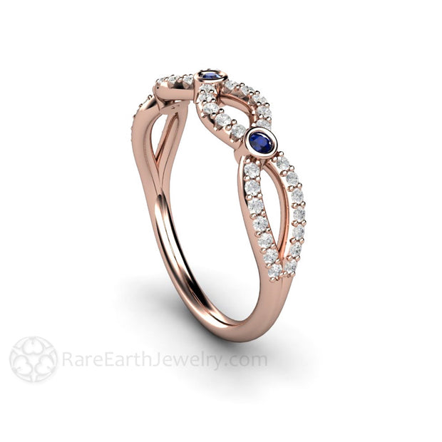 Rose Gold Diamond Infinity Ring with Sapphire Accent Stones Rare Earth Jewelry