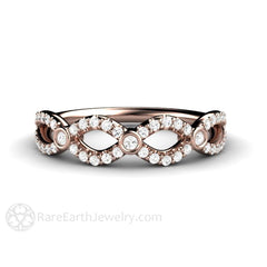 Rare Earth Jewelry Diamond Infinity Anniversary Band 14K Rose Gold Rare Earth Jewelry
