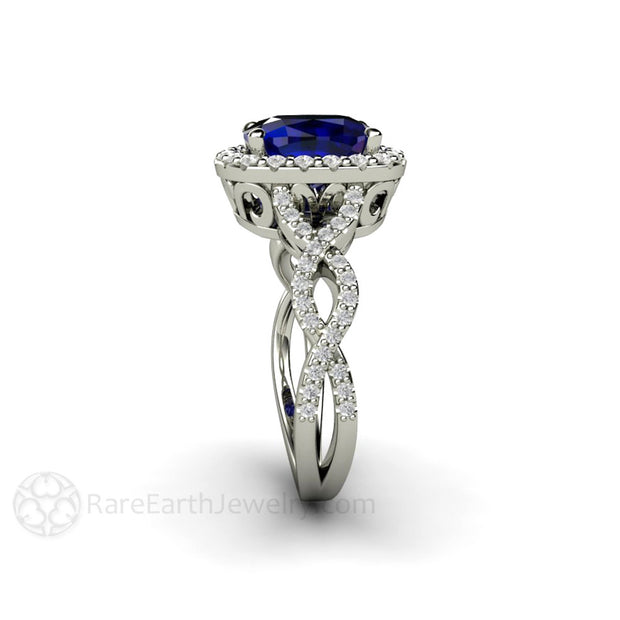 Rare Earth Jewelry Diamond Infinity Blue Sapphire Halo Ring Cushion Cut 14K or 18K Gold Setting
