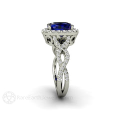 Rare Earth Jewelry Diamond Infinity Blue Sapphire Halo Ring Cushion Cut
