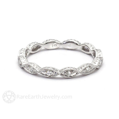Rare Earth Jewelry Vintage Engraved Diamond Anniversary Band 14K Gold