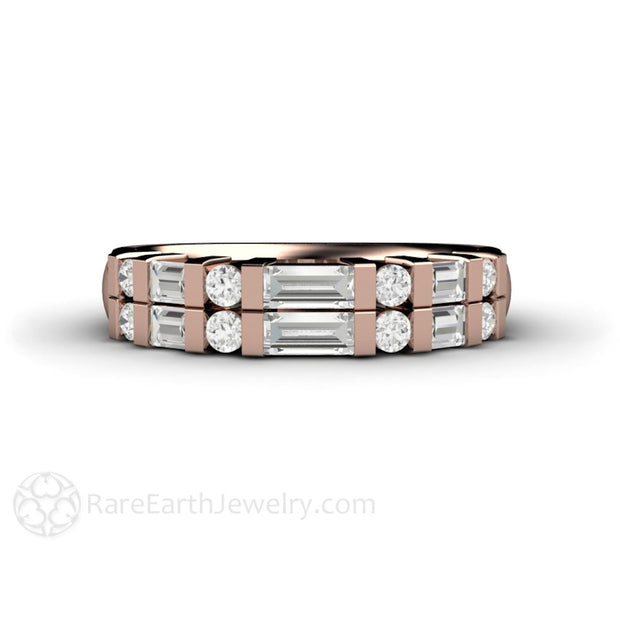 Rose Gold Diamond Wedding Band Baguette Diamond and Brilliant Rounds Rare Earth Jewelry