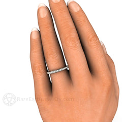 Diamond Wedding Ring with Milgrain Details on Finger Rare Earth Jewelry